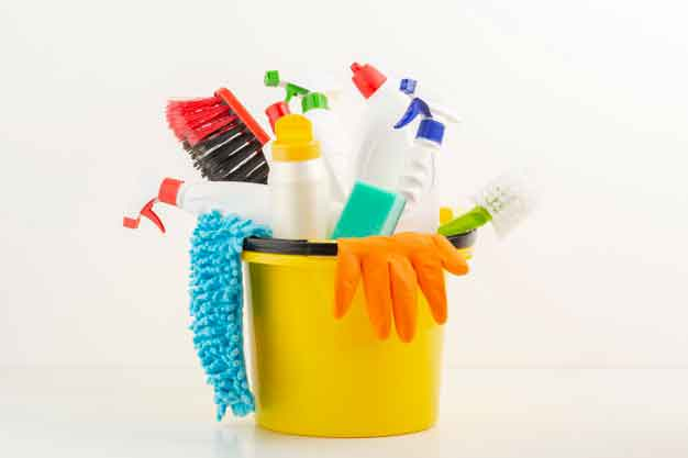Use the materials you need to clean each surface